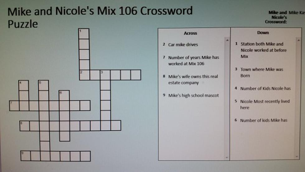 Mike and Nicole Crossword Puzzle