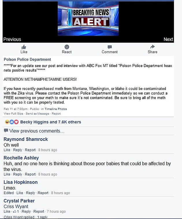 Polson Police Department Facebook Page