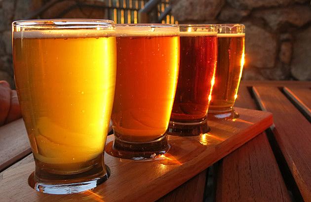 Colorful beer flight